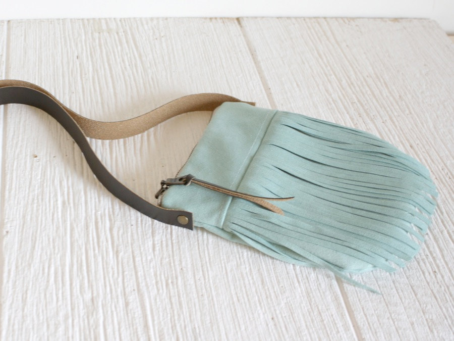 Small Fringe Crossbody, Mint Fringe Bag