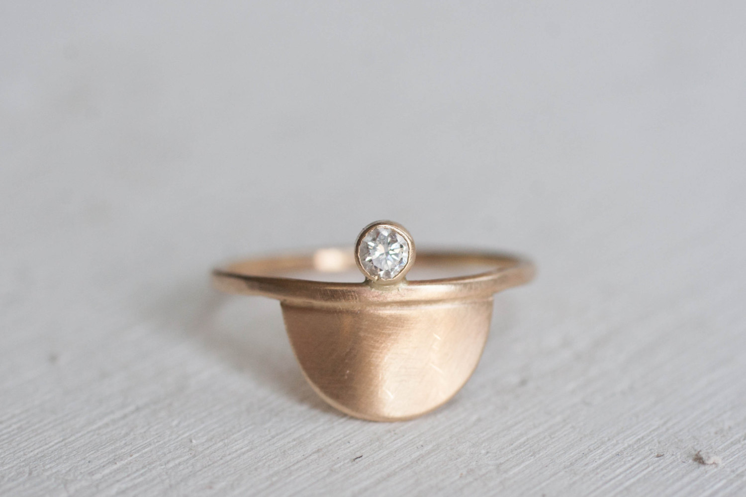 Diamond Semicircle Ring
