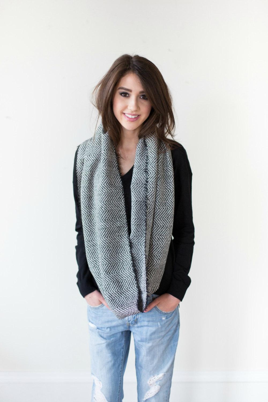 Herringbone wool infinity scarf