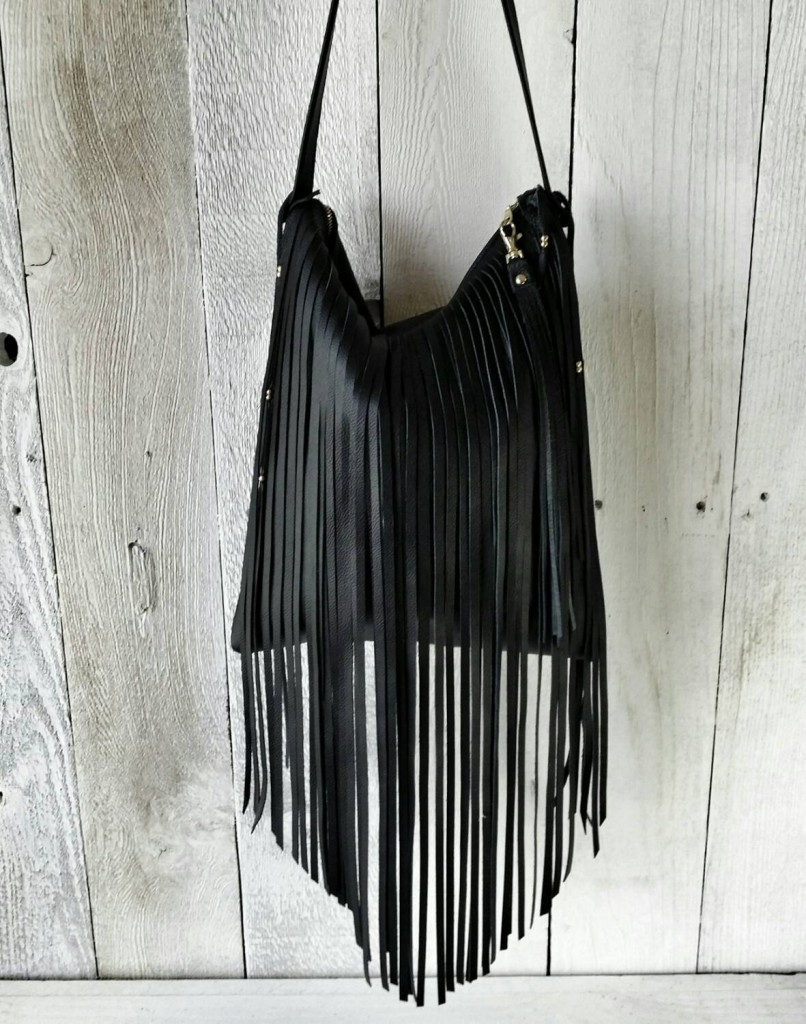 oho Chic Black Fringe Bag