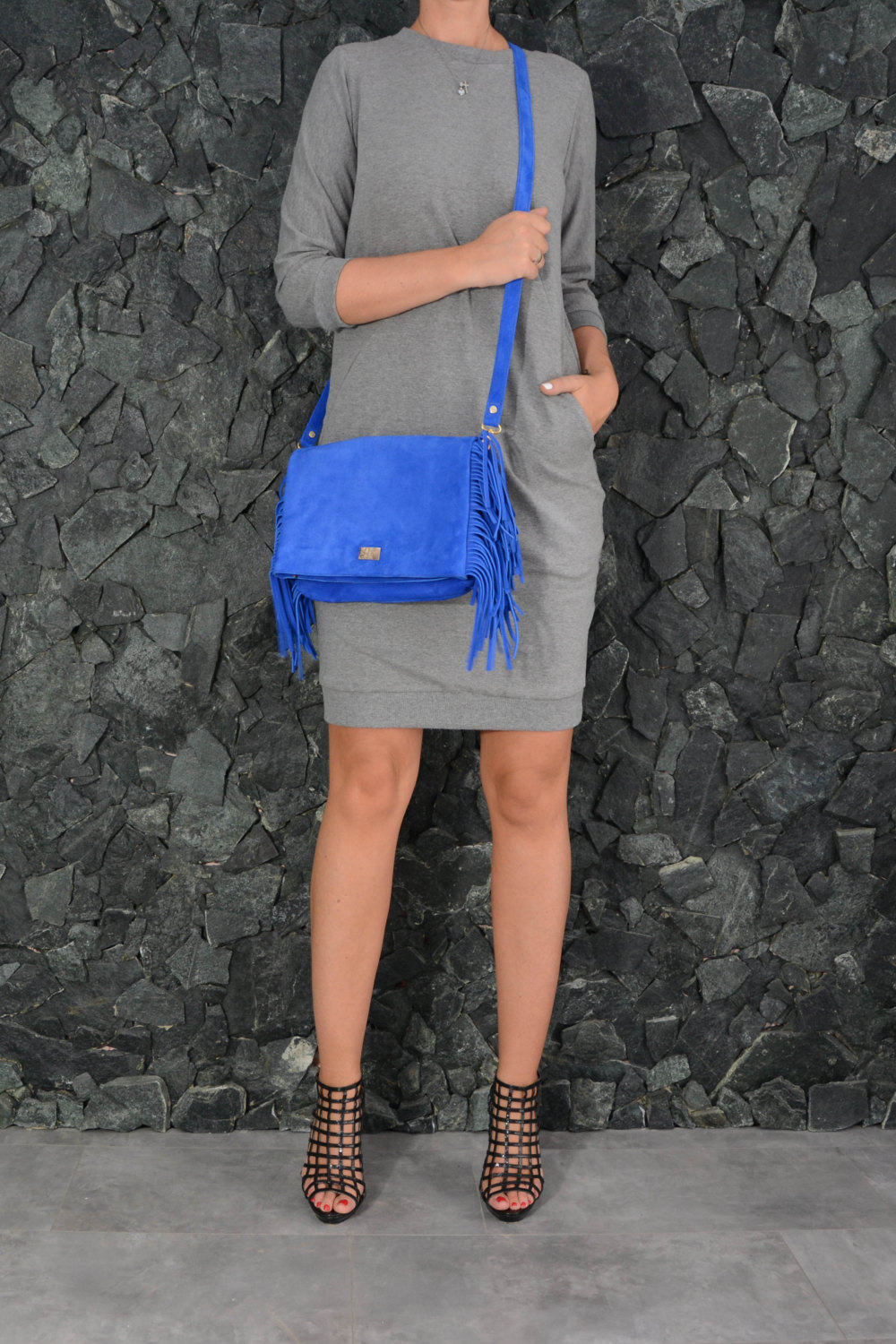 Ultramarine blue leather fringe bag